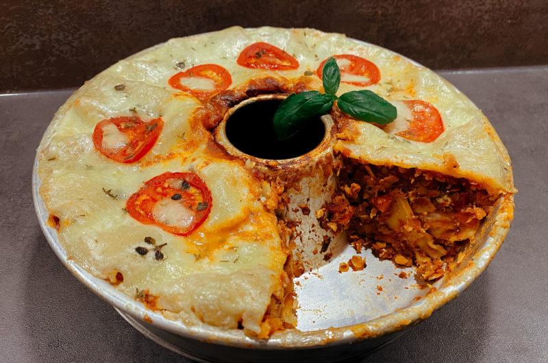 Vegetarische Lasagne mit Linsen-Bolognese aus dem Omnia